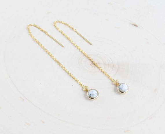 Gold Threader Simple | Long Chain Earring | Marble Earrings | Threader Earrings  | Minimal Earrings | Gold Earrings | Dainty Earrings |