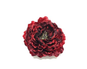 Artificial Peony in Deep Red- 5.5 Inches - Artificial Flowers, Silk Flowers, Wedding, Flower Crown, Hair Accessories, DIY Wedding, Millinery