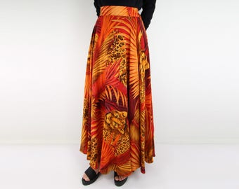 VINTAGE Silk Circle Skirt Maxi Palm Print Cheetah Long Full