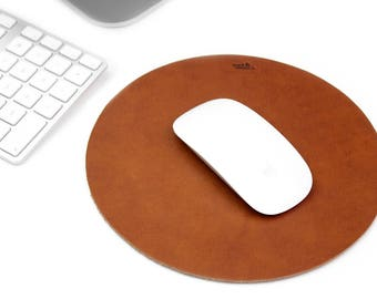 Leather Mouse Pad Round, 100% vegetable tanned leather suction cup foil