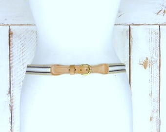 Vintage striped tan/brown/blue canvas faux leather lightweight belt/brass buckle chord belt