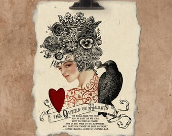 Artisan Queen Of Hearts Handmade Paper Print.