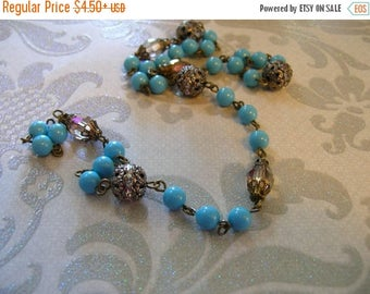 New year SALE LC20 Vintage Style Linked Beaded Chain Antique brass Plated links with crystals and Swarovski Blue Turquoise  pearls
