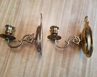 Vintage Set Pair of Brass Candle Holder Sconces