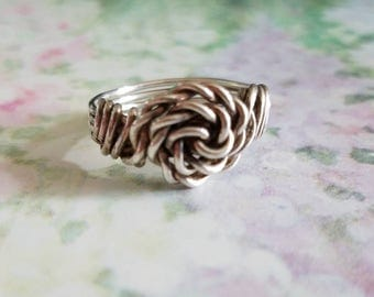 Vintage Sterling Silver Wire Knot Ring 925  Women Ring Size 8.75