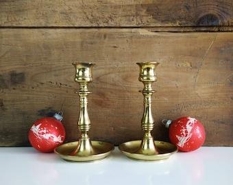 Vintage English Brass Candlesticks, set of 2 candleholders