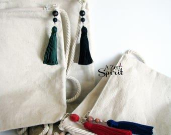Mala Bag, Tarot Bag, Storage Pouch, Rune Bag, Zip Top Bag, Purse, Dharma Bag, Boho Bag, Medicine Bag