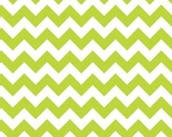 Winter Sale Riley Blake Fabric - 1 Yard of Small Chevron in Lime
