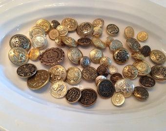 SALE !!!! Gold Shanks - 50 assorted gold blazer shank buttons