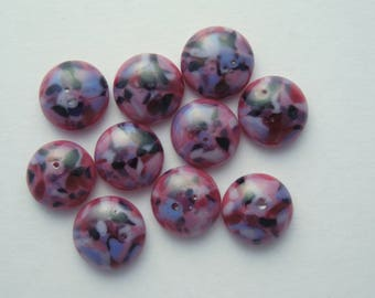 Purple And Pink Beads - Fused Glass Beads - Lampwork Beads - Fused Glass - Jewelry Findings - Small Beads - Cabochon - Cab  2541