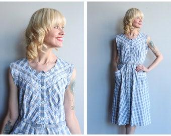 1950s Dress // Augusta Plaid Day Dress // vintage 50s house dress