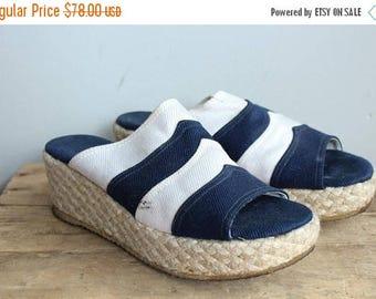 25% Off Sale // 1960s Espadrilles // Jacques Cohen Striped Espadrille Wedges // vintage 60s canvas wedge sandals // 8-8.5W