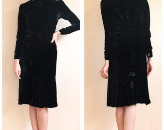 1930s Dress // Silk Velvet Black Dress // vintage 30s dress