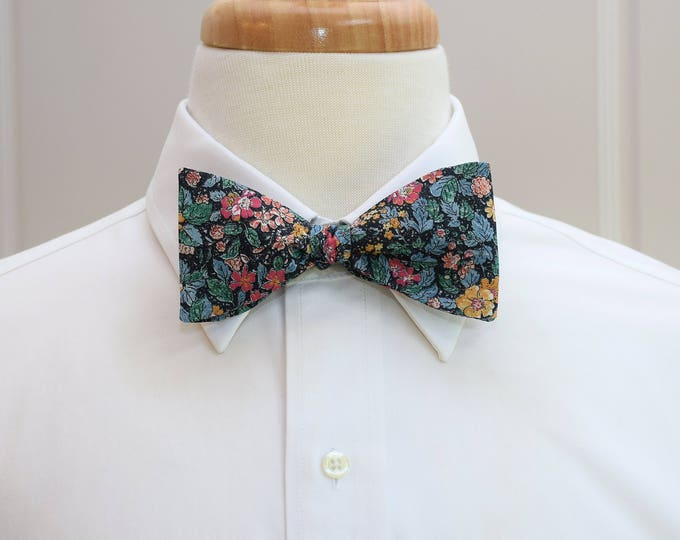Men's Bow Tie, Liberty of London, black/teal floral  bow tie, groom/groomsmen bow tie, wedding bow tie, Prince George print, tux accessory