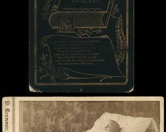 antique 1890s cabinet card photo set - post mortem baby & his mourning card