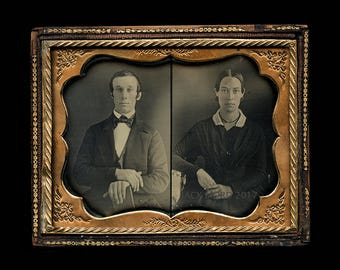 rare unusual side by side double exposure daguerreotype - photographer trick