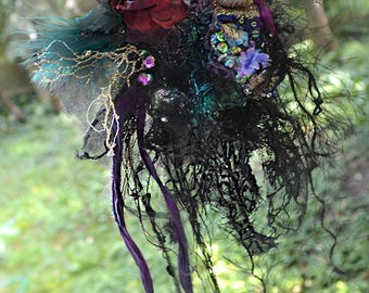 RESERVED Unique Art To Wear Gothic Brooch Dep FOREST SWAMP Fairy Gipsy Boho Antoinette Tattered