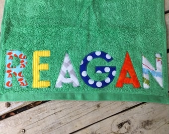 Athletic Towel - Hand Towel - with custom personalized name applique
