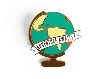 Adventure Awaits Globe Enamel Pin (GOLD)  - World Map Globe Pin