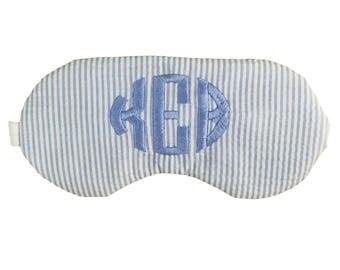 Preppy Custom Monogram Personalized Sleep Mask in Light Blue Seersucker with Charcoal Grey