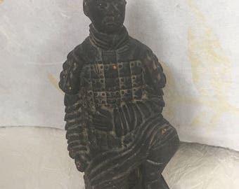 Vintage small chinese terra cotta warrior