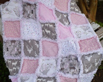 Baby Girl Rag Quilt Crib Quilt Modern Nursery Bedding Woodland Deer Fawn Forest Buck Antlers Arrows Pink Gray White Ready to Ship