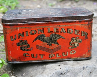 Antique Union Leader Cut Plug Tobacco Red Tin Box Great Collectable Shabby Storage and Home Decor