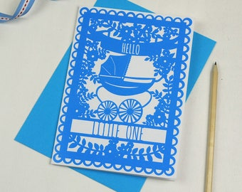 New Baby Vintage Pram Card, Printed Welcome to the World Papercut Style Card, New Baby Cards