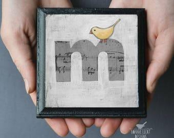 ABC Nursery Decor, Small Alphabet Art Block Letter M, ABC Art Print for Kid's Room, Alphabet Art Print, Whimsical Bird Alphabet Letter M Art