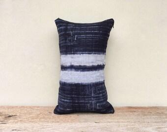 "Vintage Homespun Hemp Batik Hand Woven Pillow Case 12"" x 20""  Pieces Of Tribal Costume"