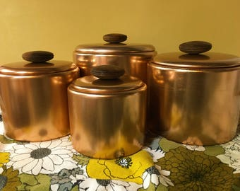 Mirro Copper Canister Set Vintage Mid-century Retro Chunky Wooden Knobs Pink Aluminum