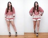 Vintage Floral Indian Cotton Batik Boho Hippie Top Blouse Tunic 70's