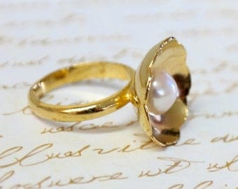 SALE - Gift For Women, Princess Pearl Ring, Gold Flower Pearl Ring, Bridal Pearl Ring, Engagement Pearl Ring, Prom Pearl Ring