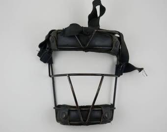 Vintage 1950's Black Leather Baseball Catchers Mask