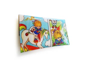 Rainbow Brite Purse with Starlite & Twink - Upcycled Vintage Book Page in Vinyl - 1980's