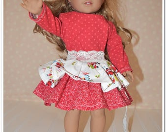 """18"""" Doll Size Holiday Christmas Outfit *Special Price* - Santa, red, dots, white, lace, tee, skirt, headband, nelle*s, ruffle, knit, cotton"""