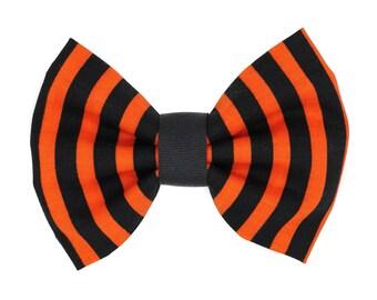 Orange and Black Striped Fabric Hair Bow Clip