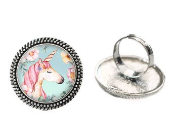 Unicorn with Mint Green Background Glass 25mm Cabochon Silver Double Rope Adjustable Ring