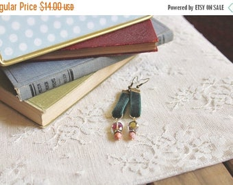 40% OFF SALE Emerald green velvet earrings with aurora borealis glass beads and pink marble beads, Market Lane