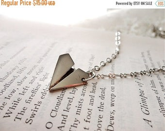 25% OFF SALE Small silver tone paper airplane charm necklace, whimsical and cute, Wishes From Airplanes