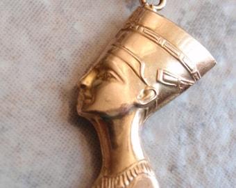 18K Nefertiti Keychain Egyptian Solid Gold Key Fob Vintage 130718