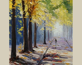 ORIGINAL Oil Painting Park Alley Palette knife Textured Green Yellow Blue  Purple Handmade Art by Marchella