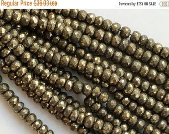 ON SALE 55% Pyrite Beads, Natural Pyrite Faceted Rondelles, Pyrite Necklace, 8mm Beads, 7 Inch Strand, Pyrite Wholesale