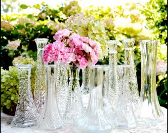 Vintage Wedding Bud Vase Collection of Ten / Great Gatsby  Clear Glass Sparkle and Shine