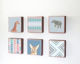 safari boho nursery art Choose (6) SIX of our Custom Designs, boho prints, jungle zoo, tribal decor, nursery decor, wall art, redtilestudio