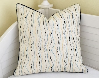 Quadrille China Seas Ginza on Both Sides Designer Pillow Cover with Tiny Navy Piping