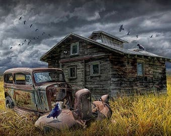 Old Vintage Automobile Junk and Decrepid Building with Flying Geese and Ravens No.5031 A Fine Art Syrreal Fantasy Photograph Composite