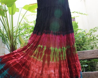 ARIEL on Earth - Boho Gypsy Long Tiered Ruffle Patchwork Tie Dyed Cotton Skirt - TD1706-09