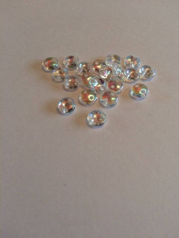 Crystal Ab CzechMates 6mm 2 hole lentil beads 50 pieces