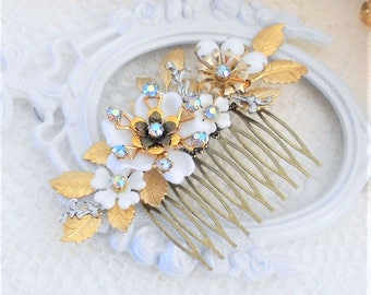 SALE, 50% OFF, Gold Leaf Hair Comb, Flower Hair Comb, Floral Hair Comb, Assemblage Hair Comb, Collage Hair Comb, Something Blue